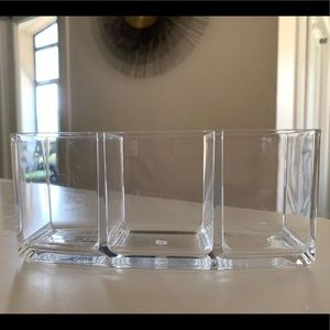 Triple Compartment Acrylic Brush Holder